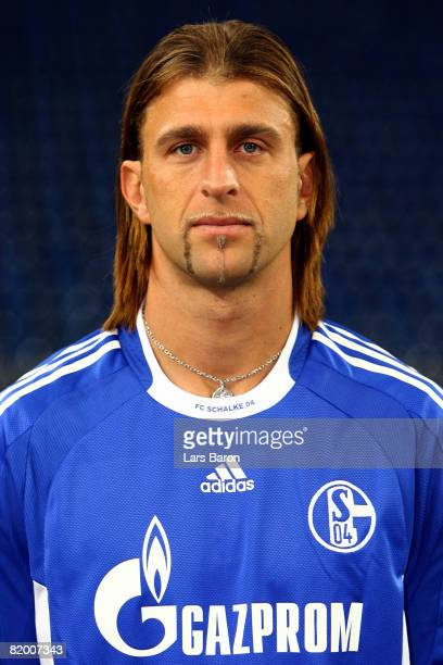 Marcelo Bordon poses during the Bundesliga 1st team presentation of FC Schalke 04 at the VeltinsArena on July 20 2008 in Gelsenkirchen Germany
