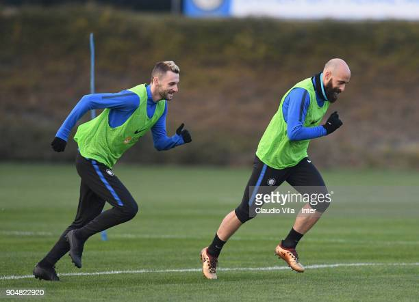 Marcelo Brozovic and Borja Valero of FC Internazionale in action during the FC Internazionale training session at Suning Training Center at Appiano...