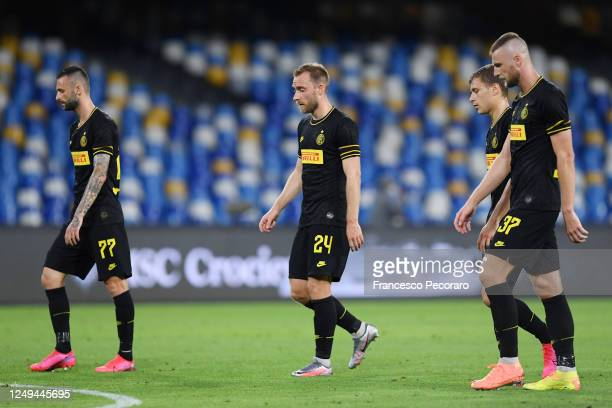 Marcelo Brozovic Christian Eriksen Nicolò Barella and Milan Skriniar of FC Internazionale leave the pitch disappointed after the Coppa Italia...
