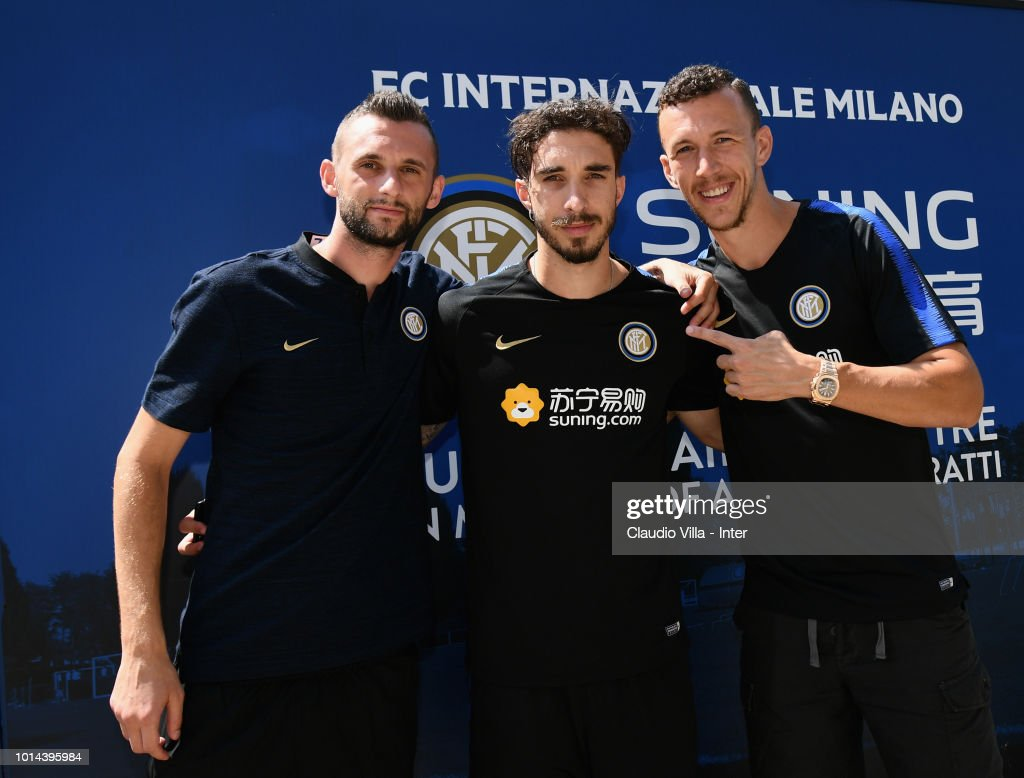 Marcelo Brozovic, Šime Vrsaljko and Ivan Perisic of FC Internazionale pose for a photo after the FC Internazionale training session at the club's training ground Suning Training Center in memory of Angelo Moratti at Appiano Gentile on August 10, 2018 in Como, Italy.
