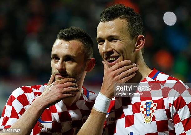 Marcelo Brozovic of Croatia celebrate scoring a goal with the Ivan Perisic during the International Friendly match between Croatia and Israel at...