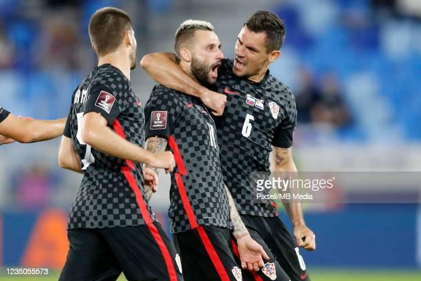 Marcelo Brozovic of Croatia celebrates after scoring a goal during the 2022 FIFA World Cup Qualifier match between Slovakia and Croatia at Narodny...