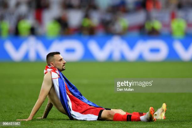 Marcelo Brozovic of Croatia celebrates following his sides victory in the 2018 FIFA World Cup Russia Semi Final match between England and Croatia at...