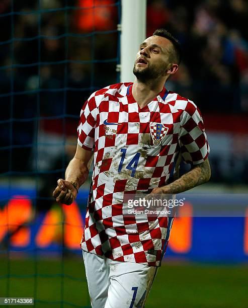 Marcelo Brozovic of Croatia celebrates scoring a goal during the International Friendly match between Croatia and Israel at stadium Gradski Vrt on...