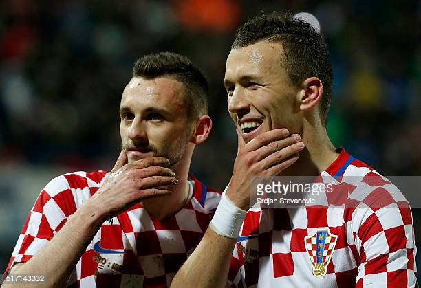 Marcelo Brozovic of Croatia celebrates scoring a goal with the Ivan Perisic during the International Friendly match between Croatia and Israel at...