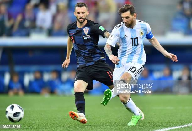 Marcelo Brozovic of Croatia competes with Lionel Messi of Argentina during the 2018 FIFA World Cup Russia group D match between Argentina and Croatia...