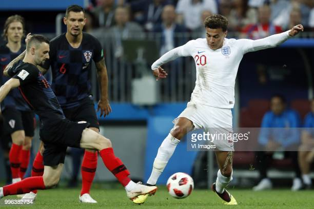 Marcelo Brozovic of Croatia Dele Alli of England during the 2018 FIFA World Cup Russia Semi Final match between Croatia and England at the Luzhniki...