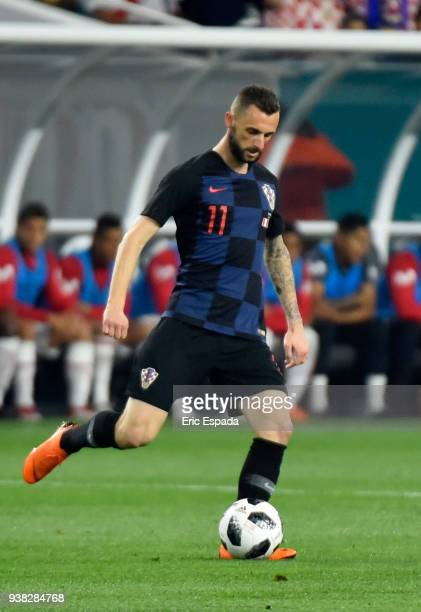 Marcelo Brozovic of Croatia drives the ball during the international friendly match between Peru and Croatia at Hard Rock Stadium on March 23 2018 in...