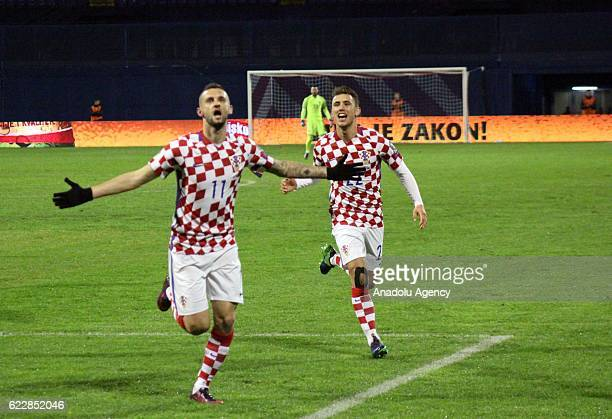 Marcelo Brozovic of Croatia national football team celebrates scoring a goal during the FIFA 2018 World Cup Qualifier Group I match between Croatia...