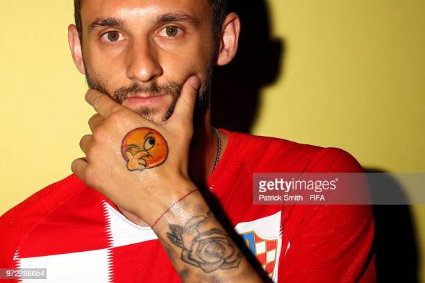 Marcelo Brozovic of Croatia poses for a portrait during the official FIFA World Cup 2018 portrait session at Woodland Rhapsody Resort on June 12,...