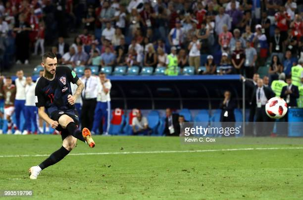 Marcelo Brozovic of Croatia scores his team's first penalty in the penalty shoot out during the 2018 FIFA World Cup Russia Quarter Final match...