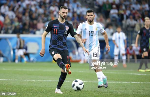 Marcelo Brozovic of Croatia Sergio Kun Aguero of Argentina during the 2018 FIFA World Cup Russia group D match between Argentina and Croatia at...