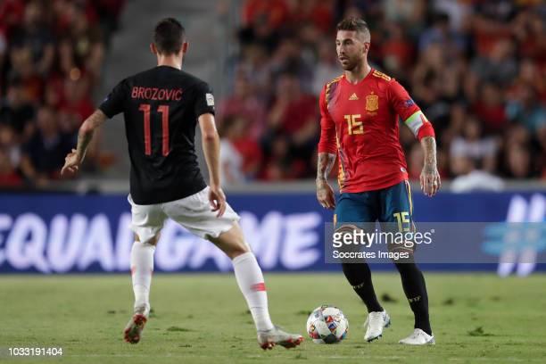 Marcelo Brozovic of Croatia Sergio Ramos of Spain during the UEFA Nations league match between Spain v Croatia at the Estadio Manuel Martínez Valero...