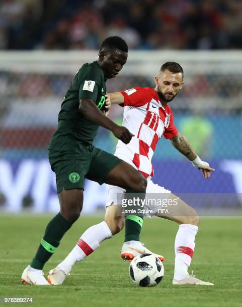 Marcelo Brozovic of Croatia tackles Oghenekaro Etebo of Nigeriaduring the 2018 FIFA World Cup Russia group D match between Croatia and Nigeria at...