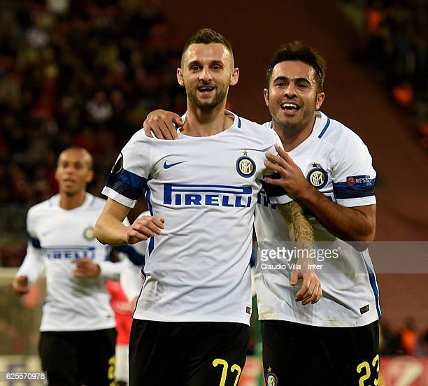 Marcelo Brozovic of FC Internazionale celebrates after scoring the second goal during the UEFA Europa League match between Hapoel Beer-Sheva FC and...