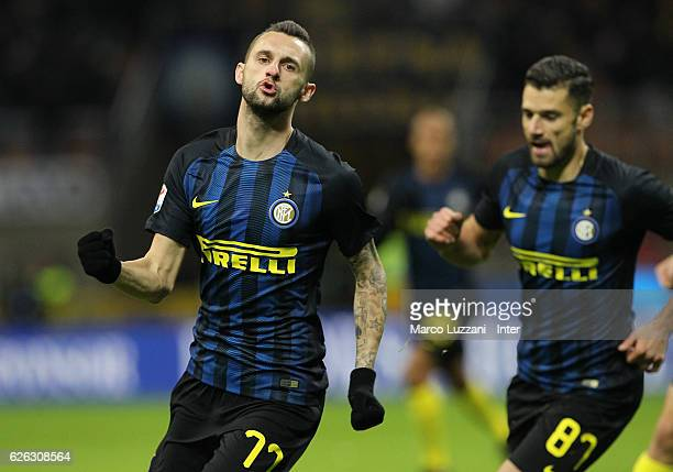 Marcelo Brozovic of FC Internazionale celebrates after scoring the opening goal during the Serie A match between FC Internazionale and ACF Fiorentina...