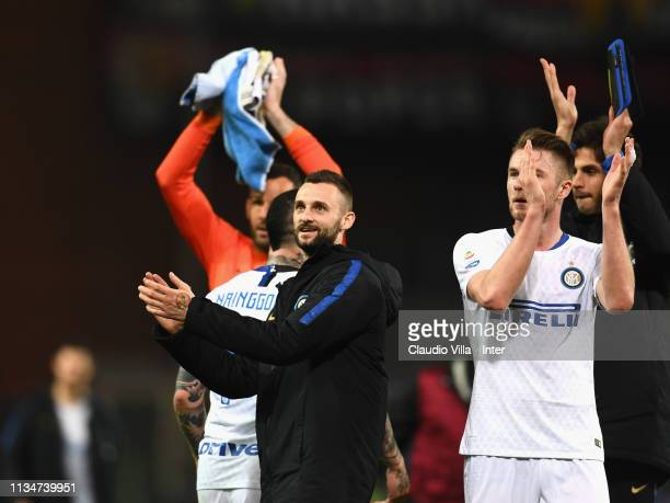 Marcelo Brozovic of FC Internazionale celebrates at the end of the Serie A match between Genoa CFC and FC Internazionale at Stadio Luigi Ferraris on...