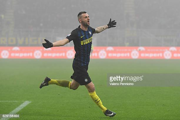 Marcelo Brozovic of FC Internazionale celebrates the opening goal during the Serie A match between FC Internazionale and Genoa CFC at Stadio Giuseppe...