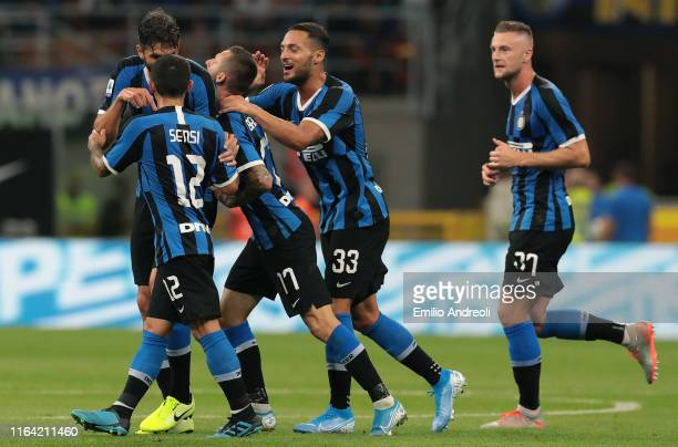 Marcelo Brozovic of FC Internazionale celebrates with his teammates after scoring the opening goal during the Serie A match between FC Internazionale...