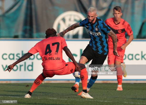 Marcelo Brozovic of FC Internazionale competes for the ball during the PreSeason Friendly match between FC Internazionale and Lugano at the club's...