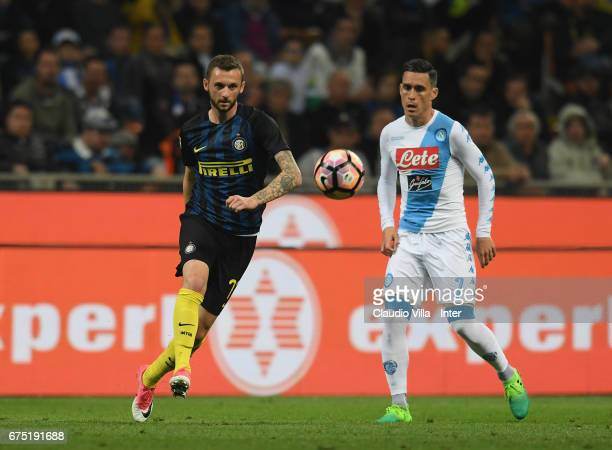 Marcelo Brozovic of FC Internazionale competes for the ball with Jose Maria Callejon of SSC Napoli during the Serie A match between FC Internazionale...