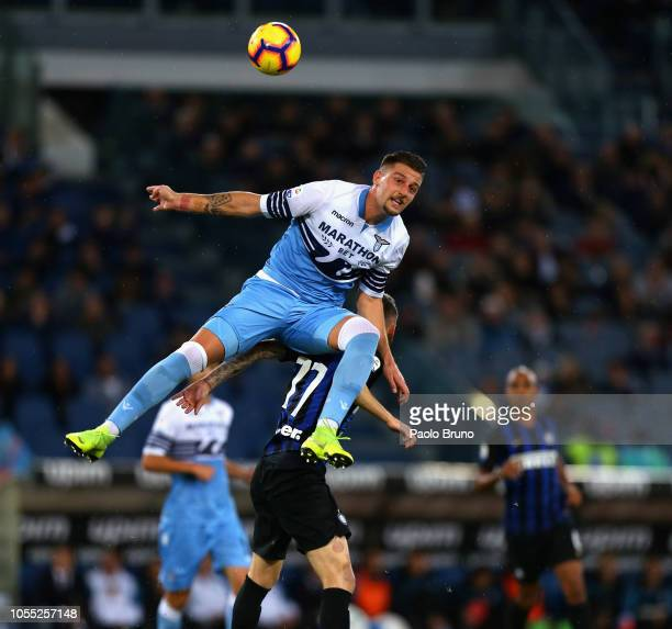 Marcelo Brozovic of FC Internazionale competes for the ball with Sergej Milinkovic of SS Lazio during the Serie A match between SS Lazio and FC...