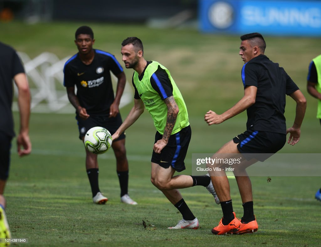Marcelo Brozovic of FC Internazionale in action during the FC Internazionale training session at the club's training ground Suning Training Center in memory of Angelo Moratti at Appiano Gentile on August 10, 2018 in Como, Italy.