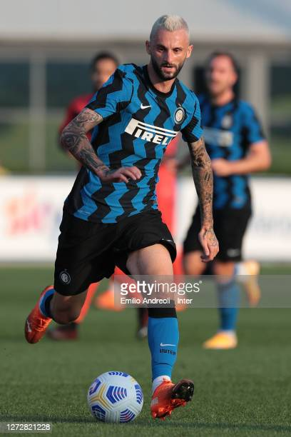 Marcelo Brozovic of FC Internazionale in action during the PreSeason Friendly match between FC Internazionale and Lugano at the club's training...
