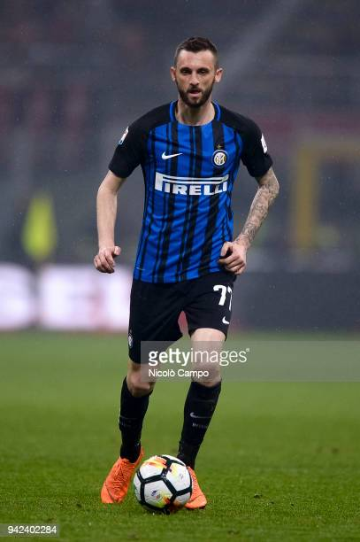 Marcelo Brozovic of FC Internazionale in action during the Serie A football match between AC Milan and FC Internazionale The match ended in a 00 tie