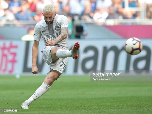 Marcelo Brozovic of FC Internazionale kicks the ball during the serie A match between FC Internazionale and Parma Calcio at Stadio Giuseppe Meazza on...