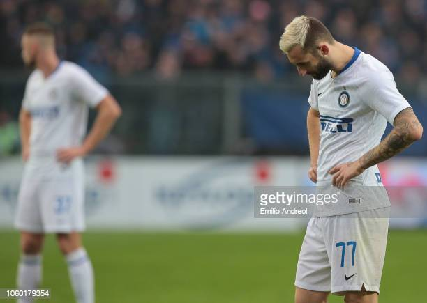 Marcelo Brozovic of FC Internazionale looks dejected during the Serie A match between Atalanta BC and FC Internazionale at Stadio Atleti Azzurri...