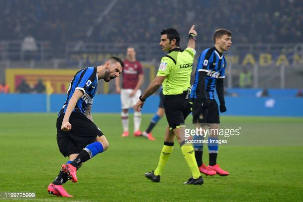 Marcelo Brozovic of FC Internazionale Milano celebrates his goal the 12 during the Italian Serie A match between Internazionale v AC Milan at the San...