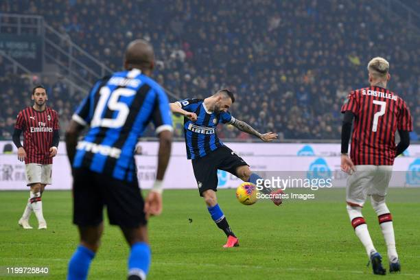 Marcelo Brozovic of FC Internazionale Milano, scores the third goal to make it 1-2 during the Italian Serie A match between Internazionale v AC Milan...