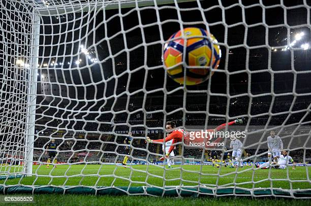 Marcelo Brozovic of FC Internazionale scores the opening goal during the Serie A football match between FC Internazionale and ACF Fiorentina FC...