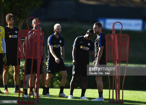 Marcelo Brozovic of FC Internazionale smiles during a training session at the club's training ground Suning Training Center in memory of Angelo...