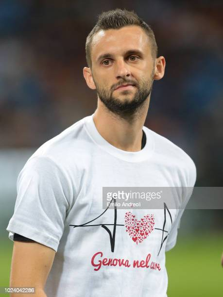 Marcelo Brozovic of FC Internazionale wears a tshirt in memory of the victims the Morandi bridge which collapsed on August 14 2018 in Genoa Italy...