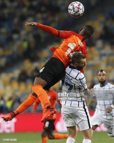 Marcelo Brozovic of Inter in action against Tete of Shakhtar during the UEFA Champions League Group B football match between Shakhtar Donetsk and...