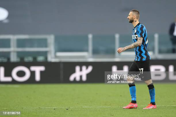 Marcelo Brozovic of Internazionale leaves the field of play after being shown a red card by the referee Gianpaolo Calvarese during the Serie A match...