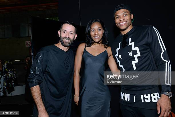 Marcelo Burlon Russell Westbrook and Nina Earl is seen backstage ahead of the Marcelo Burlon County of Milan show during the Milan Men's Fashion Week...