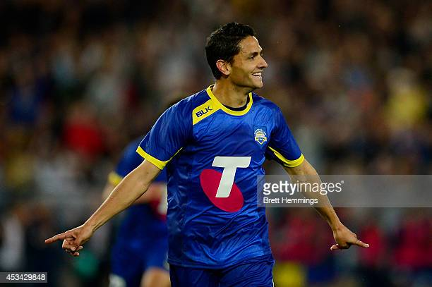 Marcelo Carrusca of the All Stars celebrates after scoring the first goal during the match between the ALeague All Stars and Juventus at ANZ Stadium...