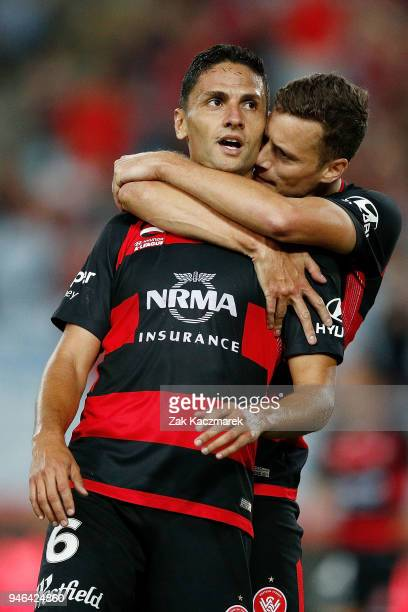 Marcelo Carrusca of the Wanderers celebrates with Oriol Riera of the Wanderers after scoring a goal during the round 27 ALeague match between the...