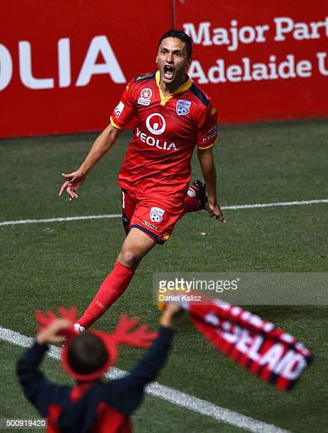 Marcelo Carrusca of United reacts after scoring a goal from a penalty kick during the round 10 A-League match between Adelaide United and Sydney FC...