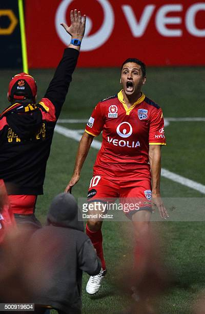 Marcelo Carrusca of United reacts to the crowd after scoring a goal from a penalty kick during the round 10 A-League match between Adelaide United...