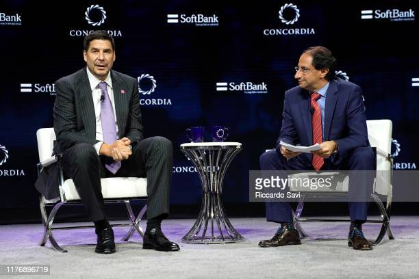 Marcelo Claure, COO, Softbank Group, and José Manuel Restrepo Abondano, Minister of Commerce of Colombia, speak onstage during the 2019 Concordia...