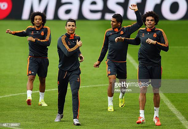 Marcelo Cristiano Ronaldo Casemiro and Pepe exercise during the Real Madrid training session ahead of their UEFA Champions League semifinal second...