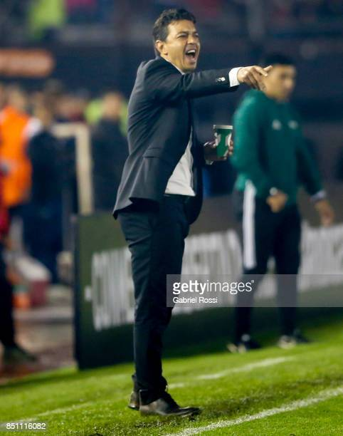 Marcelo Daniel Gallardo coach of River Plate gives instructions to his players during a second leg match between River Plate and Wilstermann as part...