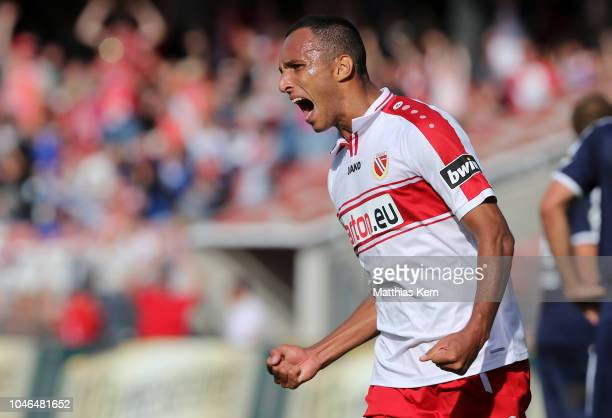 Marcelo De Freitas Costa of Cottbus jubilates after scoring the second goal during the 3. Liga match between FC Energie Cottbus and FSV Zwickau at...