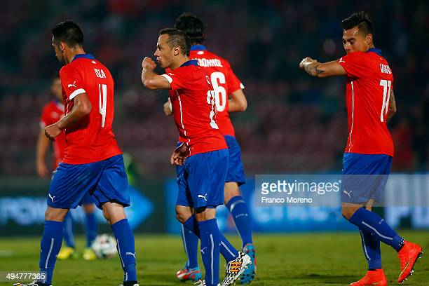 Marcelo D'iaz of Chile celebrates the first goal of his team goal during the international friendly match between Chile and Egypt at Nacional Stadium...