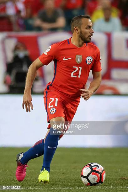 Marcelo Diaz of Chile drives the ball during a group D match between Chile and Panama at Lincoln Financial Field as part of Copa America Centenario...
