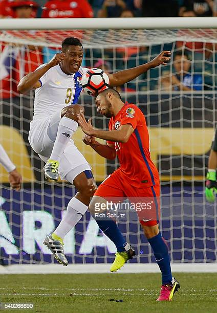 Marcelo Diaz of Chile heads the ball as Roberto Nurse of Panama defends in the first half during the 2016 Copa America Centenario Group D match at...